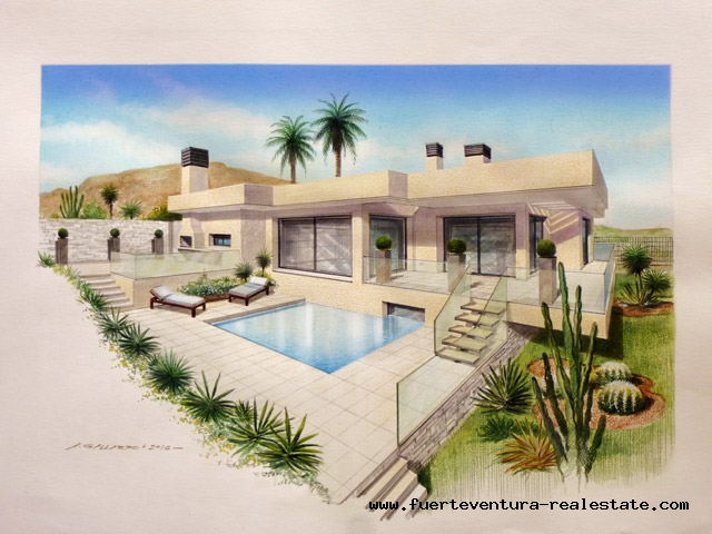 Modern design Villa with plot with amazing sea view in Corralejo Fuerteventura