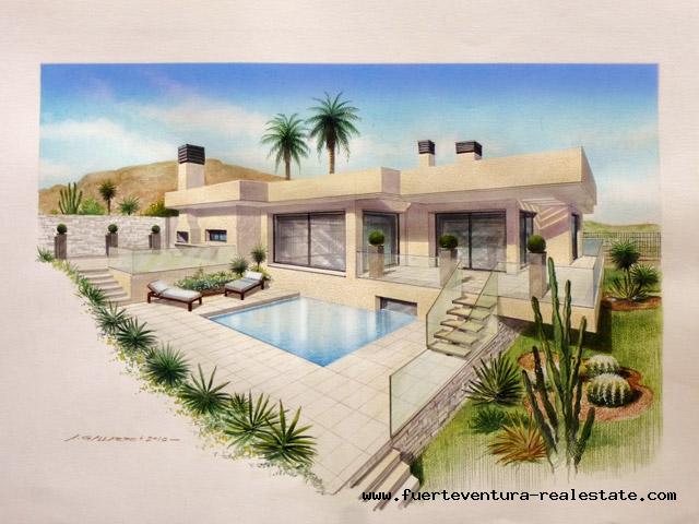 Moderne design villas met perceel met een uniek uitzicht op zee in Corralejo Fuerteventura