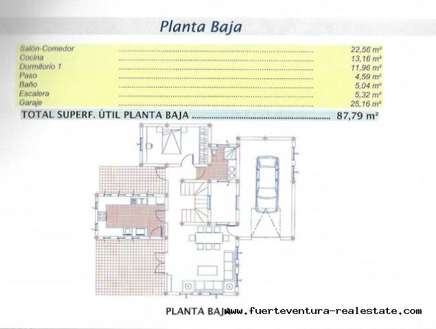 Im Verkauf!  Grundstück mit Projekt einer Villa mit Meerblick in Tarajalejo, Fuerteventura