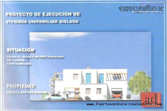 For Sale! A plot with a project of a Villa overlooking the sea in Tarajalejo, Fuerteventura
